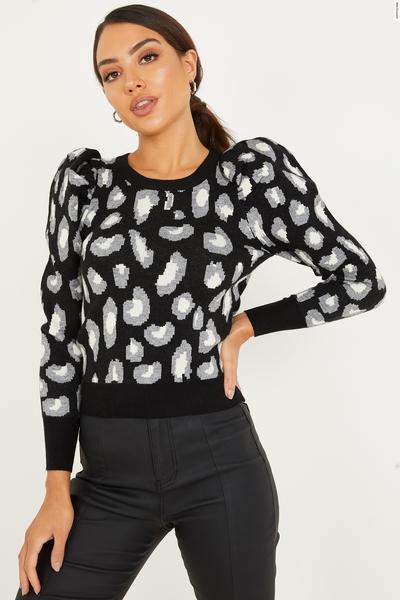 Black Knitted Leopard Print Jumper